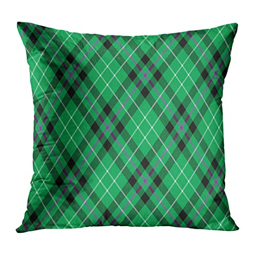 UPOOS Throw Pillow Cover Green Ireland Hibernian Fc Tartan Diagonal Pattern Abstract Decorative Pillow Case Home Decor Square 16x16 Inches (Celtic Fc Bedding)