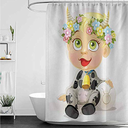 home1love Polyester Shower Curtain,Zodiac Taurus Happy Baby with