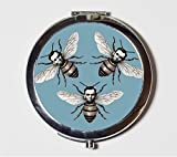 Abraham Lincoln Compact Mirror Honey Bees Altered Art Lowbrow Pop Surrealism Victorian Pocket Mirror