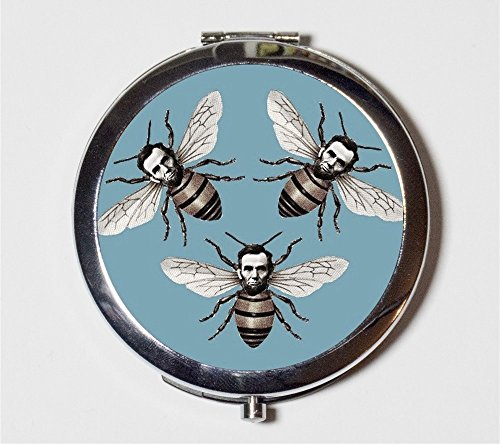 Abraham Lincoln Compact Mirror Honey Bees Altered Art Lowbrow Pop Surrealism Victorian Pocket Mirror by Fringe Pop