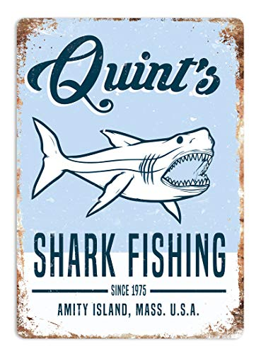 Faaca Quint's Shark Fishing Metal Wall Sign Plaque Art. Jaws 80'S Movie Poster
