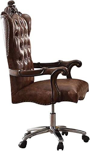 Best living room chair: ACME Versailles Light Brown Faux Leather Chair