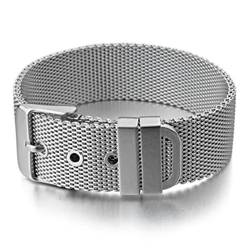 - INBLUE Men's Stainless Steel Bracelet Bangle Cuff Silver Tone Belt Buckle Mesh