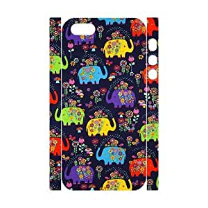 3D [Elephas Maximus] dark blue elephant with flowers fabric Case For iPhone 5,5S {White}