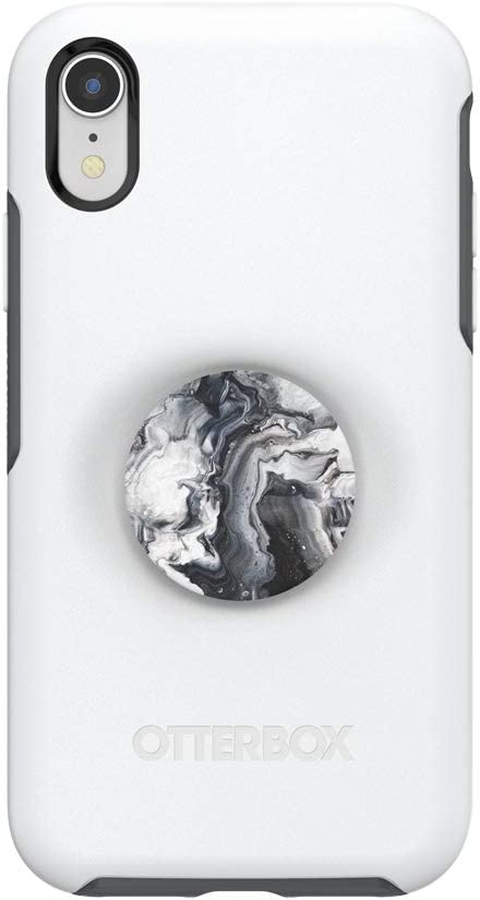 Otter + Pop for iPhone XR: OtterBox Symmetry Series Case with PopSockets Swappable PopTop - Polar Vortex and Ghost Marble