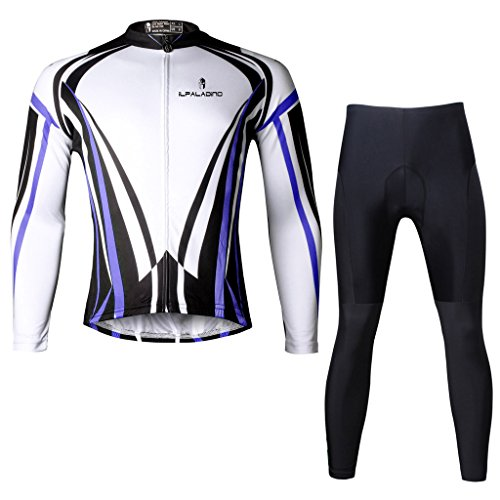 Paladinsport Men's Blue Long Sleeve Bicycle Apparel 100% Polyester Bike Jerseys And Pants Set Size 5XL