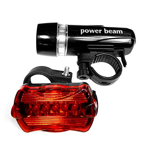 Opticube Led Bike Light - LED Concepts Bicycle Bike Light 5 LED Headlight and Taillight Set with Multiple Different Flashing Modes and a Quick Release Feature