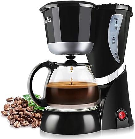 Máquinas de café Negro, cafetera con filtro permanente, jarra de cristal con gran capacidad para 1 - 6 tazas, tres capa de protección contra abrasamiento, antirreflejos, Drip de función: Amazon.es: Hogar