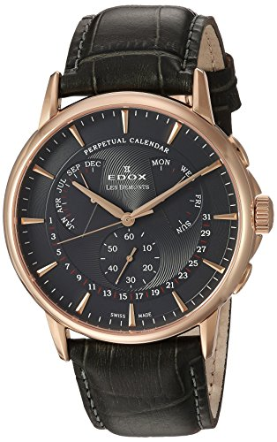 Edox Men's 'Les Bemonts' Swiss Quartz Stainless Steel and Leather Dress Watch, Color:Grey (Model: 01602 37R GIR)