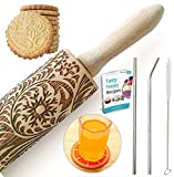 Paisley Embossed Rolling Pin 16' Engraved Rolling Pin for Baking + Cute and Lightweight Wooden Rolling Pin for Kids and Adults to Make Cookie Dough - Attractive Professional Cookie Decoration