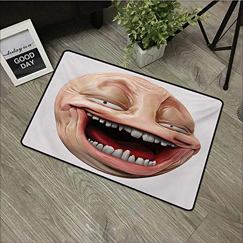 Forum Square Rug - Clear printed pattern door mat W16 x L24 INCH Humor,Poker Face Guy Meme Laughing Mock Person Smug Stupid Odd Post Forum Graphic,Peach and Pearl Natural dye printing to protect your baby's skin Non-sli