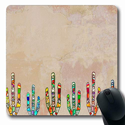 (Ahawoso Mousepads American Orange Southwestern Mosaic Cactus On Western Rendered Nature Abstract America Arizona Cacti Oblong Shape 7.9 x 9.5 Inches Non-Slip Gaming Mouse Pad Rubber Oblong Mat)