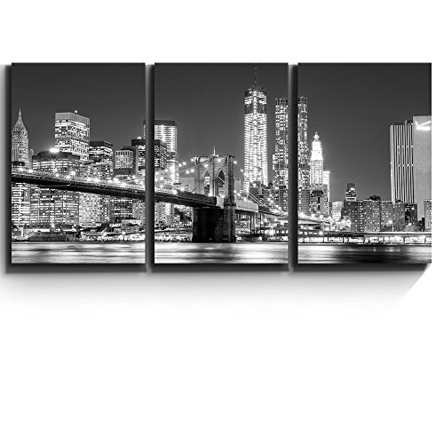 3 Piece Canvas Print - Contemporary Art, Modern Wall Decor - Black and white Manhattan Skyline and Brooklyn Bridge - Giclee Artwork - Gallery Wrapped Wood Stretcher Bars - Wall26 - 24