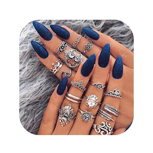 Set Crown Ring - Gudukt Statement Knucle Ring Set Vintage Opal Crystal Leaves Crown Yoga Wave Joint Knuckle Rings