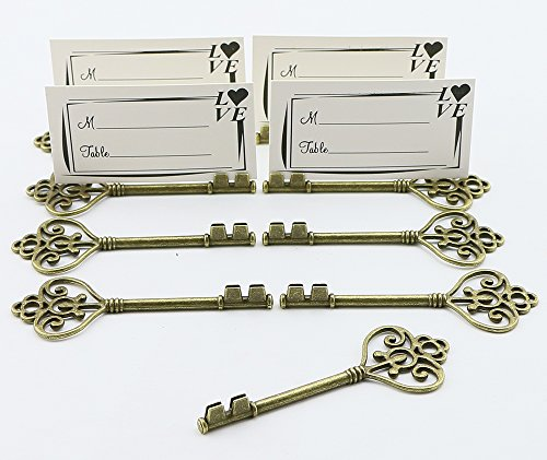 100pcs Small Vintage Skeleton Key Shaped Wedding Favors Rustic Decoration Photo Holder Key to Your Heart Antique