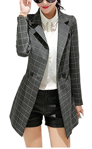 Enlishop Women's Vintage Check Plaid Long Sleeve Casual Long Jacket Blazer Grey, US 6