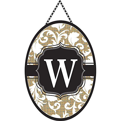 Monogram Letter W Shield with White Filigree on Burlap 18 x 13 Oval Chain Rope Door - Filigree Charm Shell