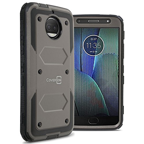 Motorola Moto G5S Plus Case, CoverON [Tank Series] Protective Full Body Phone Cover with Tough Faceplate - Gray