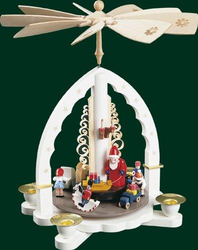 White Christmas Pyramid Santa with Christmas Presents, 10.8 Inches