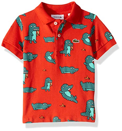Lacoste Toddler BOY Fun Croc All Over Print Pique Polo, SALVIA, 2YR