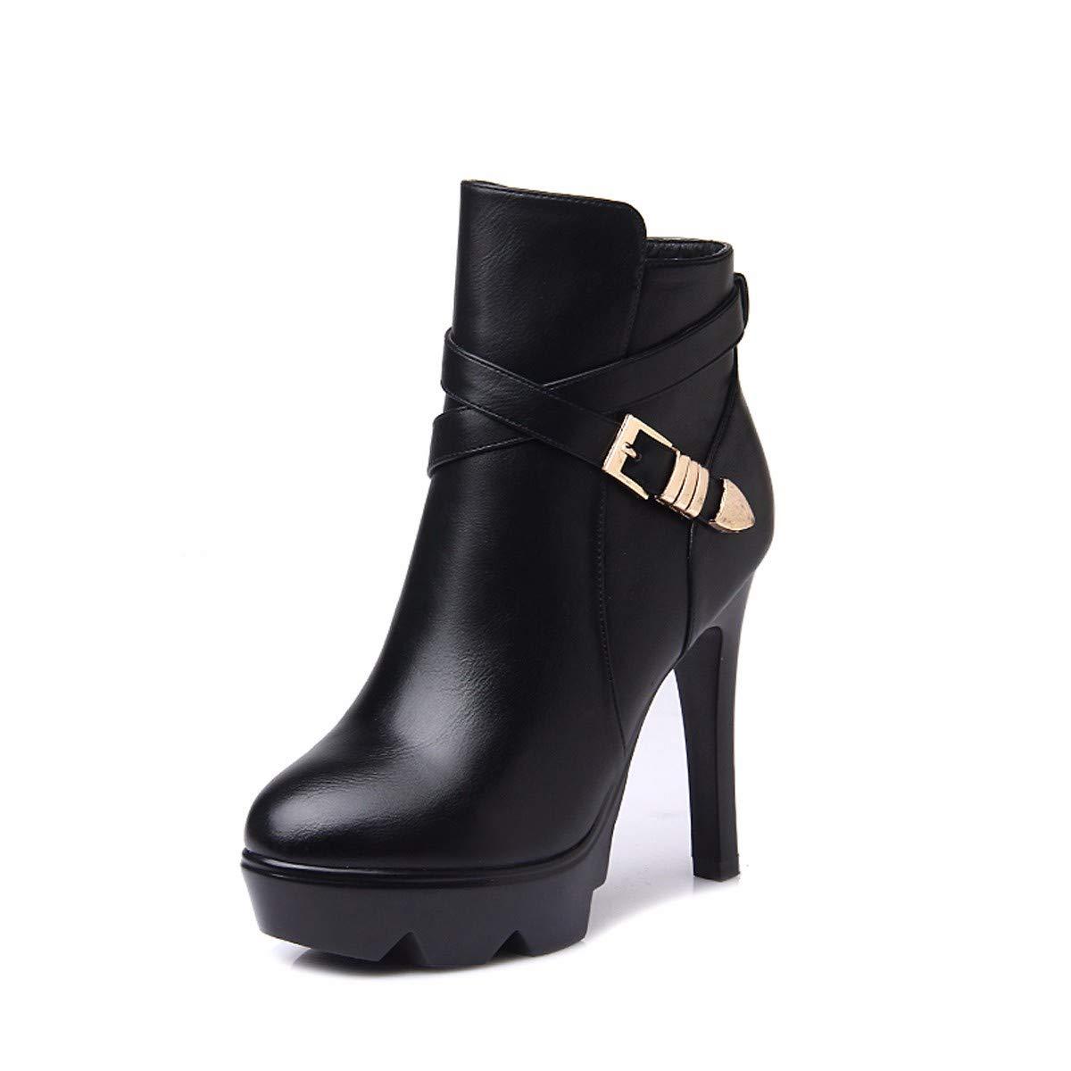 KPHY Damenschuhe Schuhe Gürtelschnallen Heel 11Cm Martin Stiefel Runden Kopf Wasserdichte Plattform Samt Baumwolle Stiefel 100 Sätze Nackte Stiefel