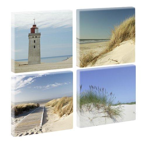 Querfarben Nordsee 3 - Trendige Kunstdruckserie auf Leinwand - 4-teilig (je 40cm x 40cm)