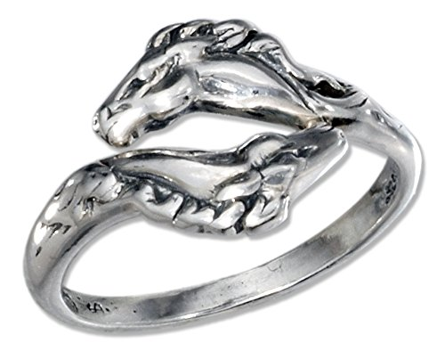 (Sterling Silver Adjustable Horse Heads Bypass Ring (size 06))