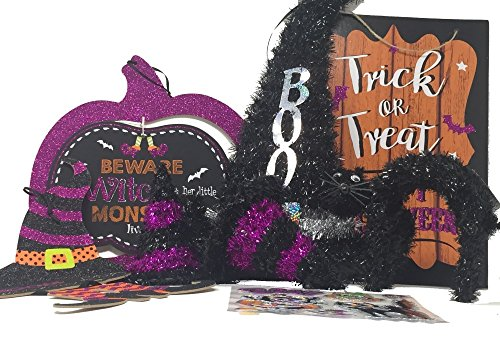 Halloween Witch Theme Decorations 1 Witch cut out sign plus bonus witch stickers 1 Black cat 3 Witch hats 1 Trick or Treat wall sign Purple pumpkin cut out sign (Halloween Trick Or Treat Definition)