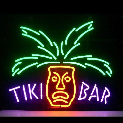 HOZER Professional 17*14 Tiki Bar Design Decorate Neon Light Sign Store Display Beer Bar Sign Real Neon Signboard for Restaurant Convenience Store Bar Billiards Shops