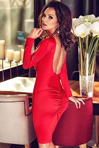 Hot botón rojo parte trasera abierta detalle Bodycon Vestido Club Wear TAMAÑO UK/S 8–�?0