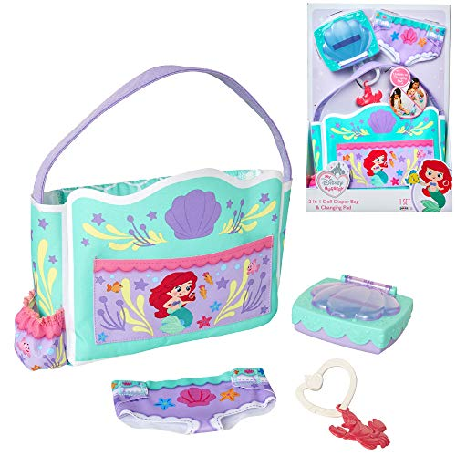 My Disney Nursery Baby Doll Accessories, Ariel Transforming 2-in-1 Diaper Bag & Changing Pad for Dolls Inspired by Disney The Little Mermaid! Pretend Wipes Toy Container, Diaper Clip with Charm