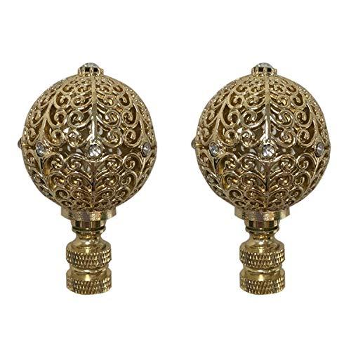 Royal Designs F-5072PB-2 Traditional Filigree Globe with Crystal Embelishments Lamp Finial, Polished Brass, Set of 2