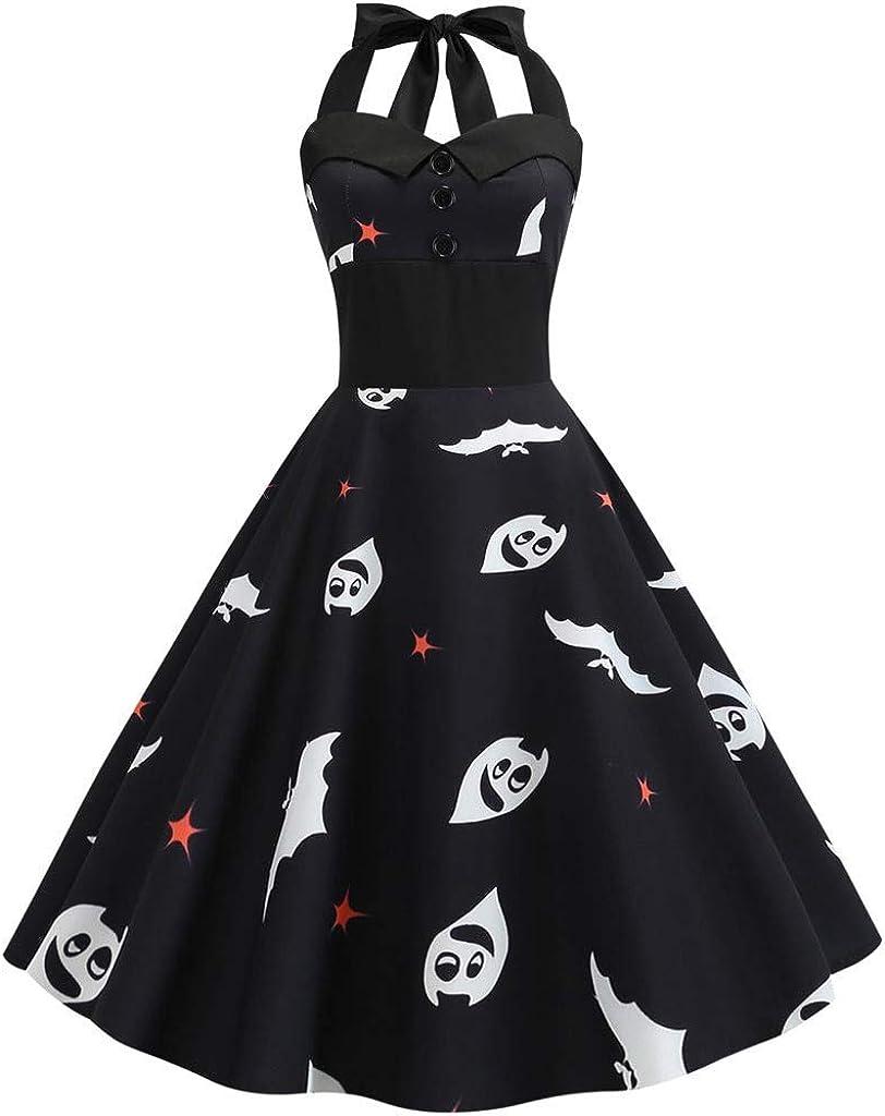 Reooly◕‿◕Impresión de la Vendimia de Las Mujeres del Vestido del oscilación Cabestro de Noche del Partido de Halloween