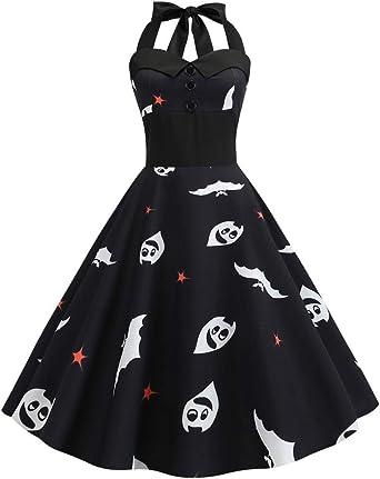 PinkLu Damska Kleider festlich Halloween schwarz Kleid einfarbig Ghost Print dres Halter Korsett cocktailkleid Puff mit hoher Taille Plissee Knielang Abendkleider Partykleider: Odzież