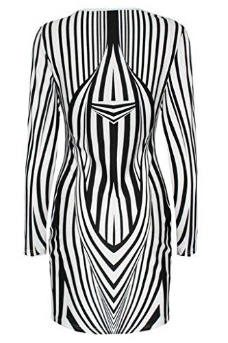Bigood Sexy Robe Longue Femme Zèbre Imprimé Rayure Noir Blanc
