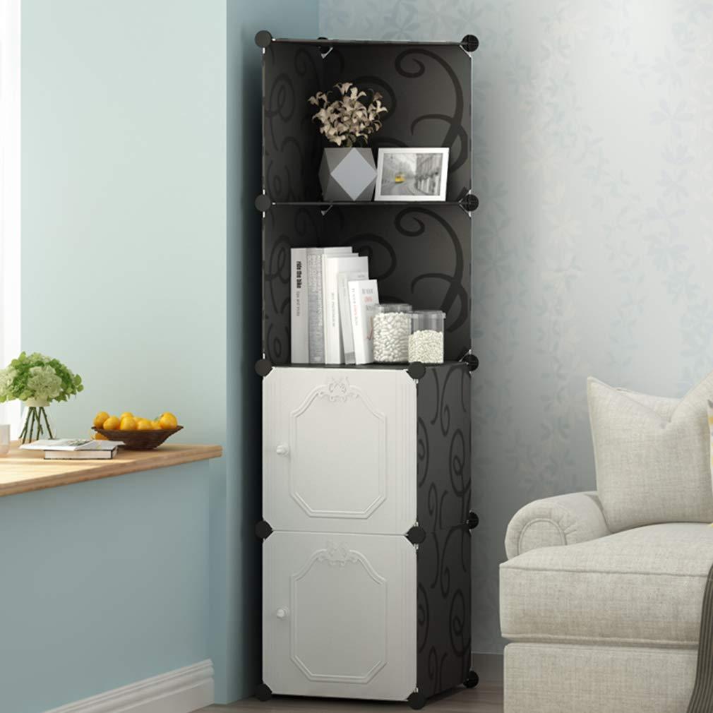 ALUS- Multi-Function Corner Cabinet Resin Plastic Storage Locker Shelf Living Room Corner Cabinet
