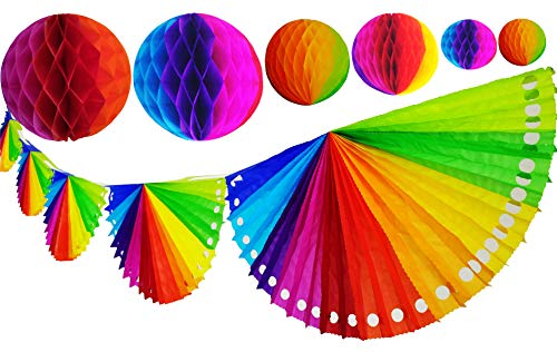(Yani's Gifts Rainbow Tissue Paper Bundle, One 9.5 ft Rainbow Fan Banner That Includes 6 Rainbow Fans + 6 Rainbow Tissue Honeycomb Balls Globes, 2 of Each Size, Perfect Decorations for Cinco de Mayo)