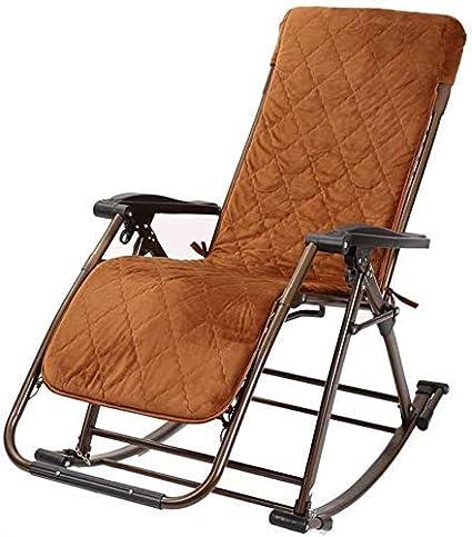 Yuany - Silla de jardín reclinable, sillón de jardín extra grande, silla de balancín portátil, sillón individual acolchado, silla tumbona, cama