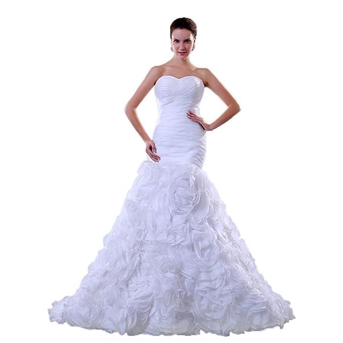 Sunvary blanco sirena estilo largo vestidos de boda de Organza de novia vestidos de corazones Blanco
