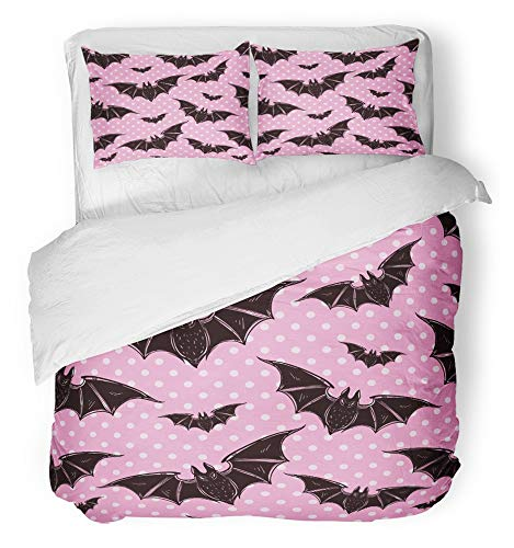 Gothic Style Halloween (Emvency 3 Piece Duvet Cover Set Breathable Brushed Microfiber Fabric Pink Evil Halloween Pattern Bats Holiday Symbols Cute Gothic Style Colorful 90S Bedding Set with 2 Pillow Covers Full/Queen)