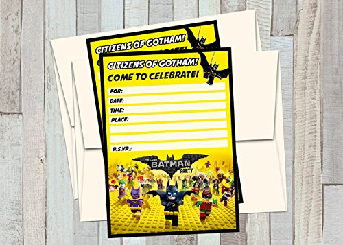 A2ZPlusmore 12 Lego Batman The Movie Birthday Invitations (12 5x7in Cards, 12 Matching White envelopes)]()