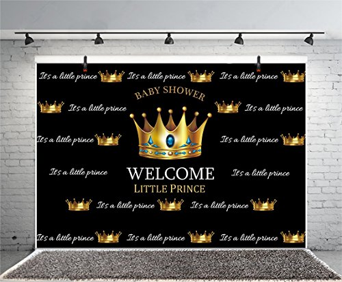 (Leyiyi 10x8ft Photography Backdrop Boys Baby Shower Background Seamless Crown Diamond Pregnant Celebration Welcome Little Prince Character Happy Birthday Banner Photo Portrait Vinyl Studio Video Prop)