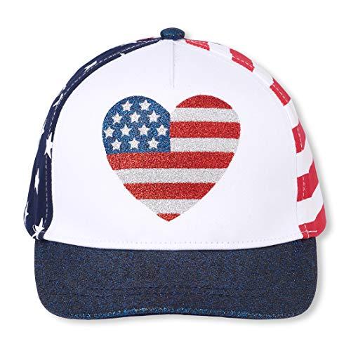 The Children's Place Girls' Big American Flag Heart Hat, Tidal, ()