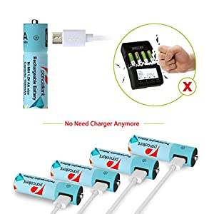 Mirco USB AA Batteries (4 Piece) Pancellent Pre-charged Ni-MH Rechargeable Battery