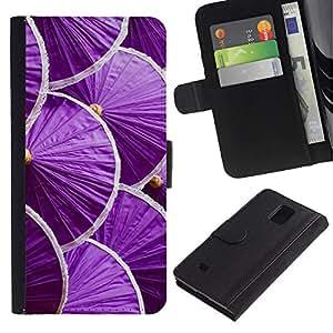 Billetera de Cuero Caso Titular de la tarjeta Carcasa Funda para Samsung Galaxy Note 4 SM-N910 / Japan Minimalist Purple / STRONG