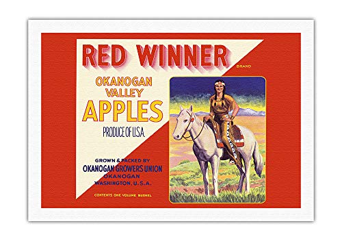 Pacifica Island Art - Okanogan Valley Washington Apples - Red Winner Brand - Vintage Fruit Crate Label c.1940s - Fine Art Rolled Canvas Print - 27in x 40in