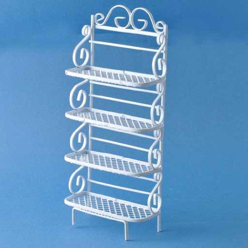 Dollhouse Miniature Furniture White Wire Wrought Iron Bakers Rack Shelf Unit
