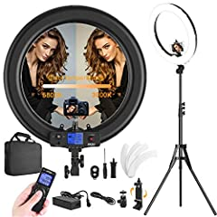 """19"""" LED ring light is designed to be used as a beauty light for self-timer beauty, modeling, makeup, wedding photography, or tattoo, nail, hairdressing studio, webcast, like YouTube videos, Live lesson as fill light, etc.   Key features:   -5..."""