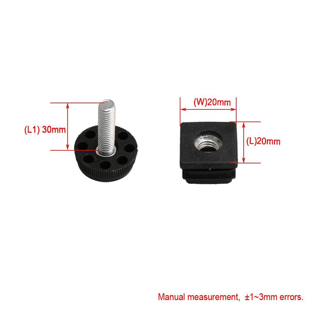 BQLZR 20/Filetage M8/Plastique Noir meubles Chaise jambe Bouchon Blanking Embouts ins/érer Plugs avec filetage ajuster Pieds pour tube de tube carr/é Lot de 10