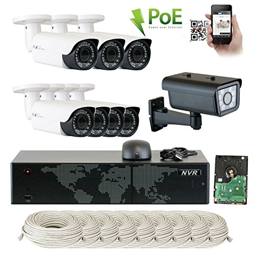 GW Security 16 Channel NVR License Plate PoE Security Camera System with 7 x 5MP 1920p 2.8-12mm Varifocal Bullet IP Camera and 1 x 2M 1080p IP License Plate Camera